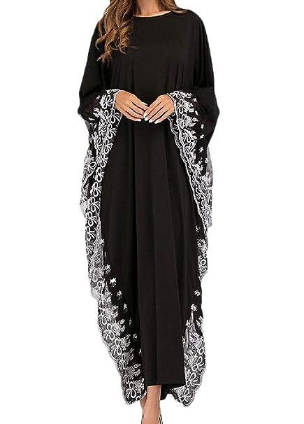 Hohun Abito Lungo da Donna in Kaftano Ricamato con Motivo Arabo Musulmano  (Colore   Nero 8a0ef15b1c7