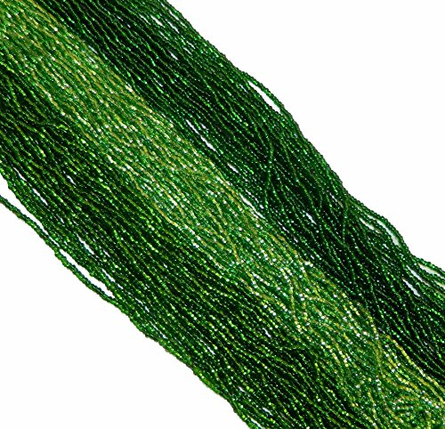 - Green Mix Silver Lined Czech 11/0 Glass Seed Beads 3 Full Hanks Preciosa