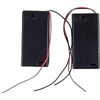 Cuasting 2 x AA 3V batterijhouder Case Box Slot Bedrade AAN/UIT Schakelaar w Cover