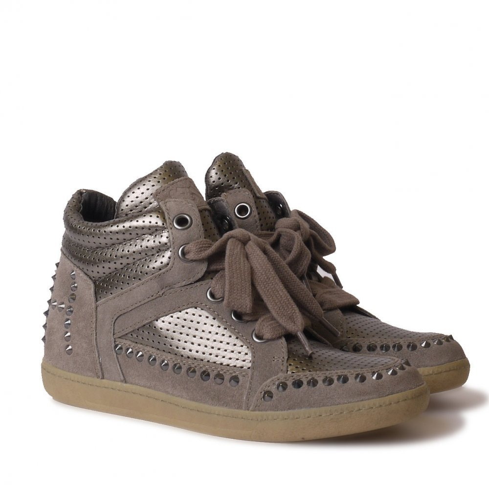 3e445ef30241 Ash ZEST TER stone suede and metallic trainers Stone Silver 40   Amazon.co.uk  Shoes   Bags
