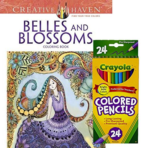 Fanciful Hat Pins (Crayola Colored Pencils, Set of 24 and Dover Creative Haven Belles & Blossoms Adult Coloring Book -Magical Designs to Color for Stress Relieving)