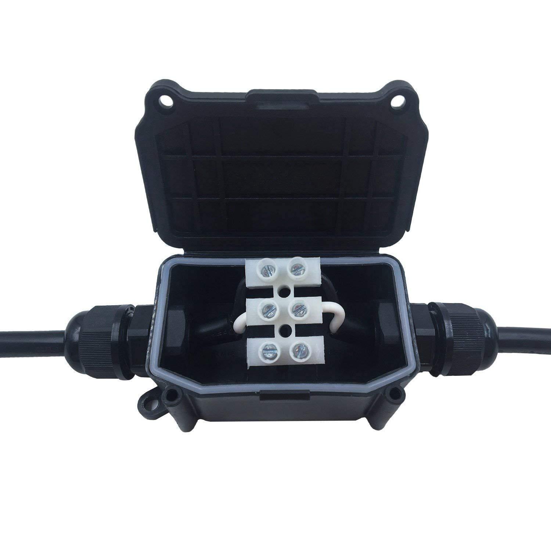Nrpfell Ip66 Bo?te De Jonction /électrique De Couvercle D/étanch/éit/é Connecteur En Plastique Noir Pg9 Cable 2 Ext/érieur /étanche