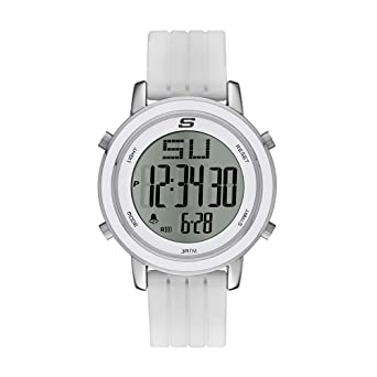 Skechers Womens Westport Quartz Metal and Silicone Digital Watch Color: Silver, White (Model