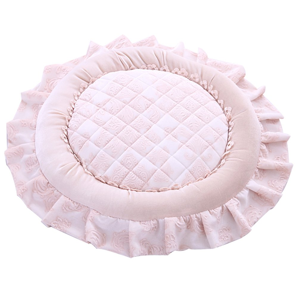 Plus Cotton Round Lace Seat Cushion, Dining Chair Continental Non-Slip Breathable Chair Cushions Washable Thicken Seat pad-Pink 54x54cm