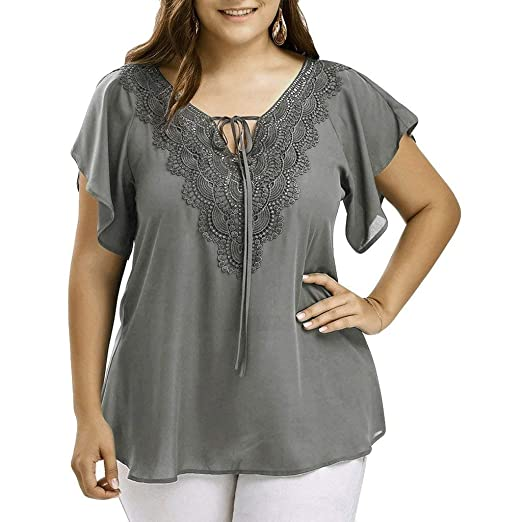 3a5e4378784 Staron Women Tops Chiffon Plus Size Bat Short Sleeve Lace V Neck T-Shirt  Blouse at Amazon Women s Clothing store