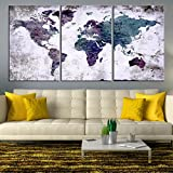 Modern Abstract Grunge World Map Push Pin Travel Map Wall Art Canvas Print for Home and Living Decoration - Ready to Hang
