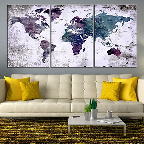 Modern Abstract Grunge World Map Push Pin Travel Map Wall Art Canvas Print for Home and Living Decoration - Ready to Hang by SamiEymur