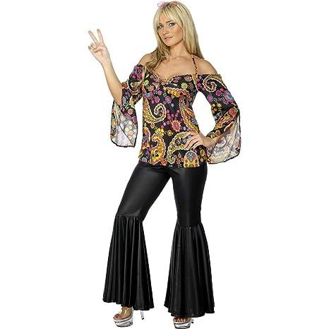 NET TOYS Costume donna anni 70 hippie camicia floreale gipsy