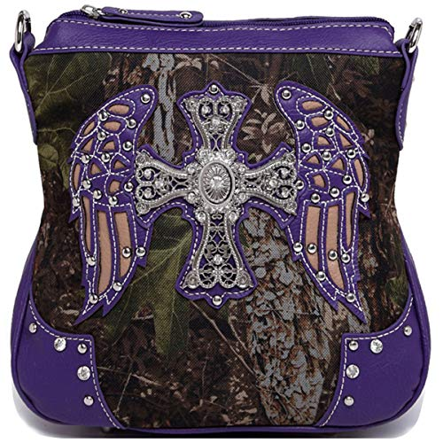 - Western Cross Wings Camouflage Cross Body Handbag Concealed Carry Purse Country Women Single Shoulder Bag (Purple)