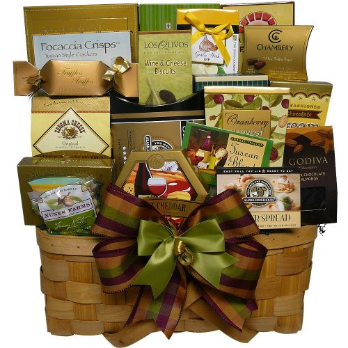 Super Snack Sampler Gourmet Food Gift Basket with Smoked Salmon (Candy Option)