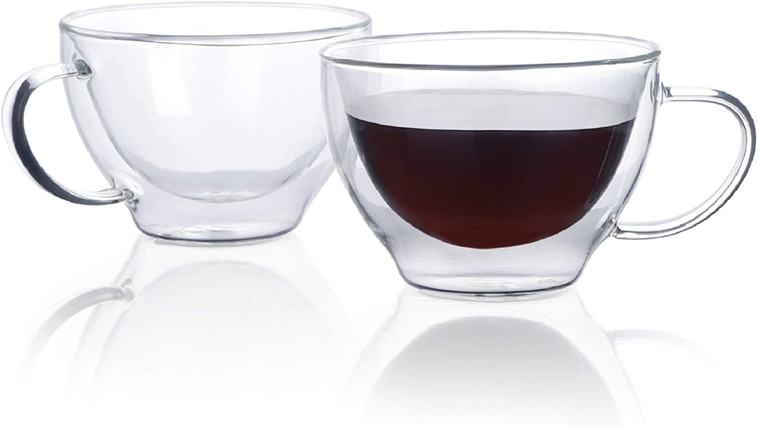 Sweese 422.101 Glass Espresso Cups - 8oz Double Wall Insulated Cups with Handle, Perfect for Hot Beverages - Espresso Coffee, Latte, Cappuccino, set of 2