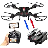 MKT Foldable RC Quadcopter FPV Drone Smartphone APP Control Aerial 2.4GHz 4 Channel 6 Axis Gyro Altitude Hold Headless Waypoints Mode (With Controller, Black)