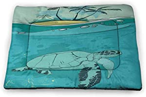Nomorer Large Dog Bed Ocean for Food and Water for Wood Floors Sea Turtle Swimming Coral Reef Exotic Island Underwater Life Illustration 35