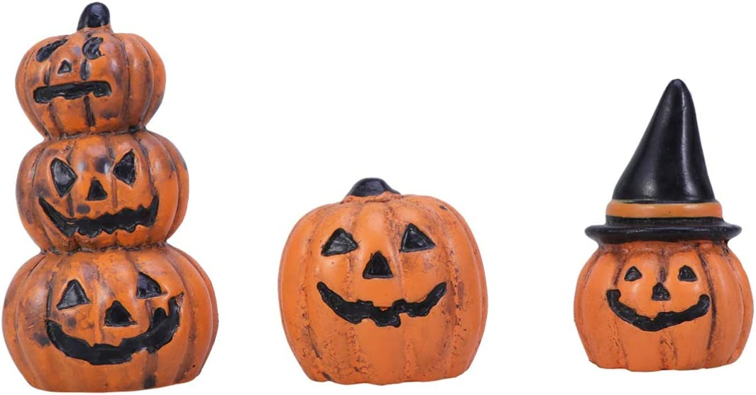 Yardwe 3pcs Halloween Miniature Pumpkin Figurines Decorations Ornaments Fairy Garden Doll House Accessories Halloween Party Favors Bag Fillers Gifts