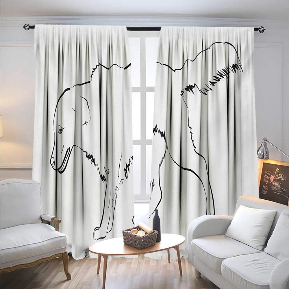 Golden RetrieverBlackout DrapesSketch Art Outline of a Dog Thoroughbred Furry Canine Pet AnimalCover The Sun W84 x L84 Black and White