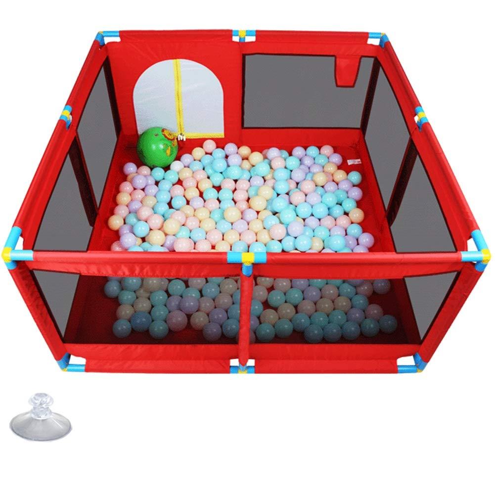 ベビーサークル ベビープレイヤード子供用ベビーサークル、赤保護柵の赤ちゃん、幼児と新生児 - (ボールとクッションなし) (Size : 128x128x66cm) 128x128x66cm  B07SYYHRDM