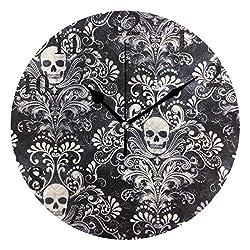 Ladninag Wall Clock Gothic Skull Damask Scary Halloween Silent Non Ticking Decorative Round Digital Clocks Indoor Outdoor Kitchen Bedroom Living Room