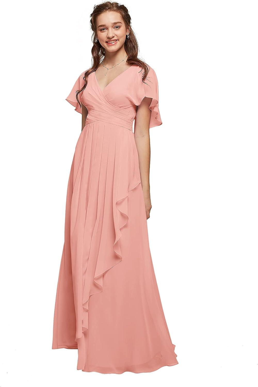 Long Mauve dress Flutter sleeve dress,V cut dress Mauve summer dress,Taupe Wedding guest dress,long graduation prom dress Long prom dress