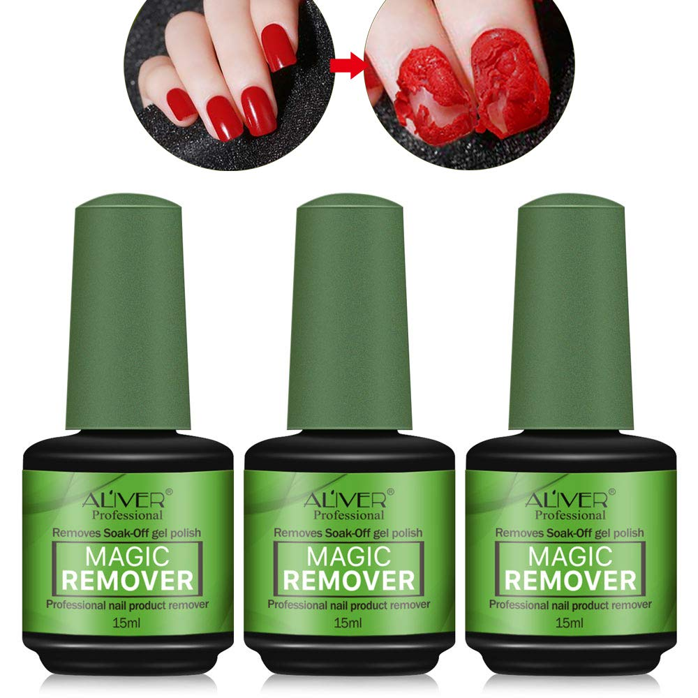 3 Pcs Magic Nail Polish Remover, Professional Easily & Quickly Removes Soak-Off Gel Polish In 3-5 Minutes, Don't Hurt Your Nails,15ml by HUIQUAN MEN