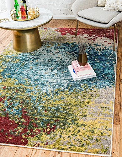 Unique Loom Estrella Collection Colorful Abstract Blue Area Rug (5' x 8')