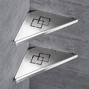 Owofan 2 tier bathroom shower corner shelf - Bathroom corner caddy stainless steel ...