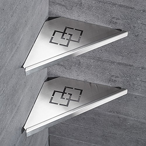 OWOFAN 2 Tier Bathroom Corner Shelf Rack Shower Storage Triangle Wall Shelves Stainless Steel Brush Nickel WF-18062-2. (Corner Floating Shelf Triangle)