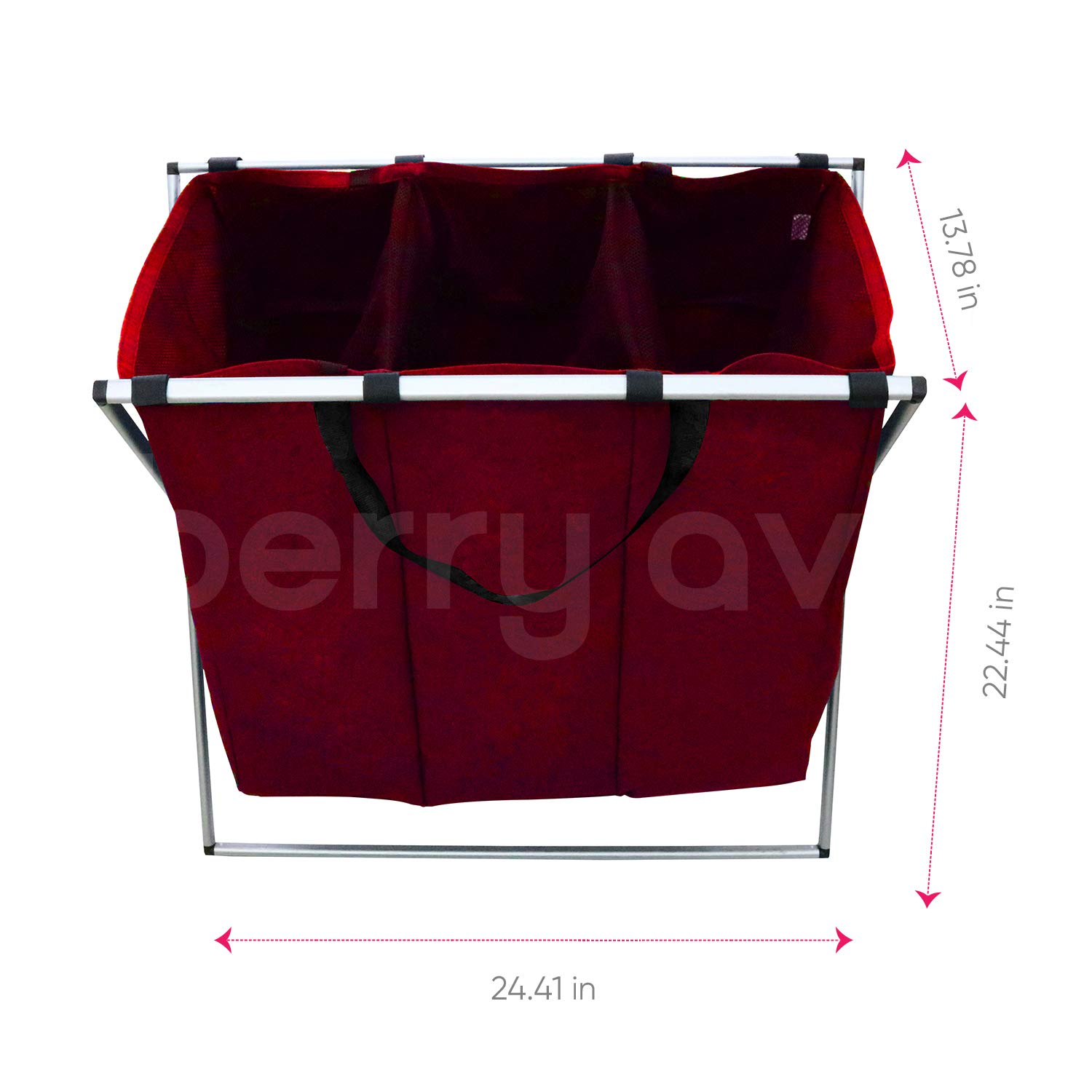 Home and College Use Dark, Light, Color Tall Tri-Part Bin Dirty Clothes Organizer for Kids Grey Smart Rolling Design Berry Ave Tri-Part Laundry Basket Hamper Adults