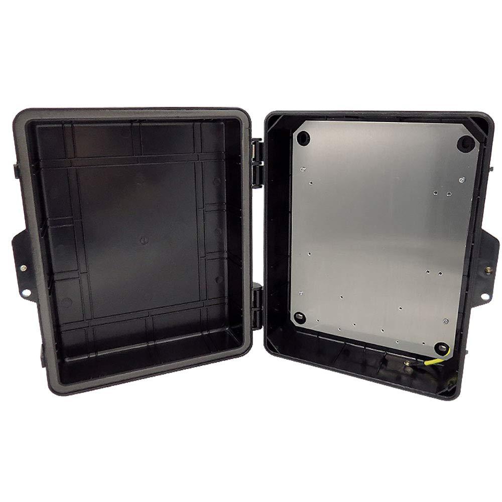 Altelix Stealth Black NEMA Enclosure 12'' x 8'' x 4'' Inside Space Polycarbonate + ABS Weatherproof Tamper Resistant NEMA Box with Aluminum Equipment Mounting Plate