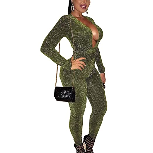 bf3acdb06b Women s Sexy Sparkly V Neck Long Sleeve Party Clubwear Romper Jumpsuit  Green S
