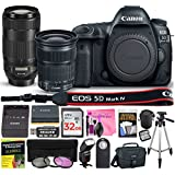 Canon EOS 5D Mark IV Digital SLR Camera (Wi-Fi, GPS) ESSENTIAL Multi-Lens STARTER Kit with Camera Body, EF 24-105mm f/3.5-5.6 IS STM Lens, EF 70-300mm f/4-5.6 IS II USM Lens & Camera Works Bundle