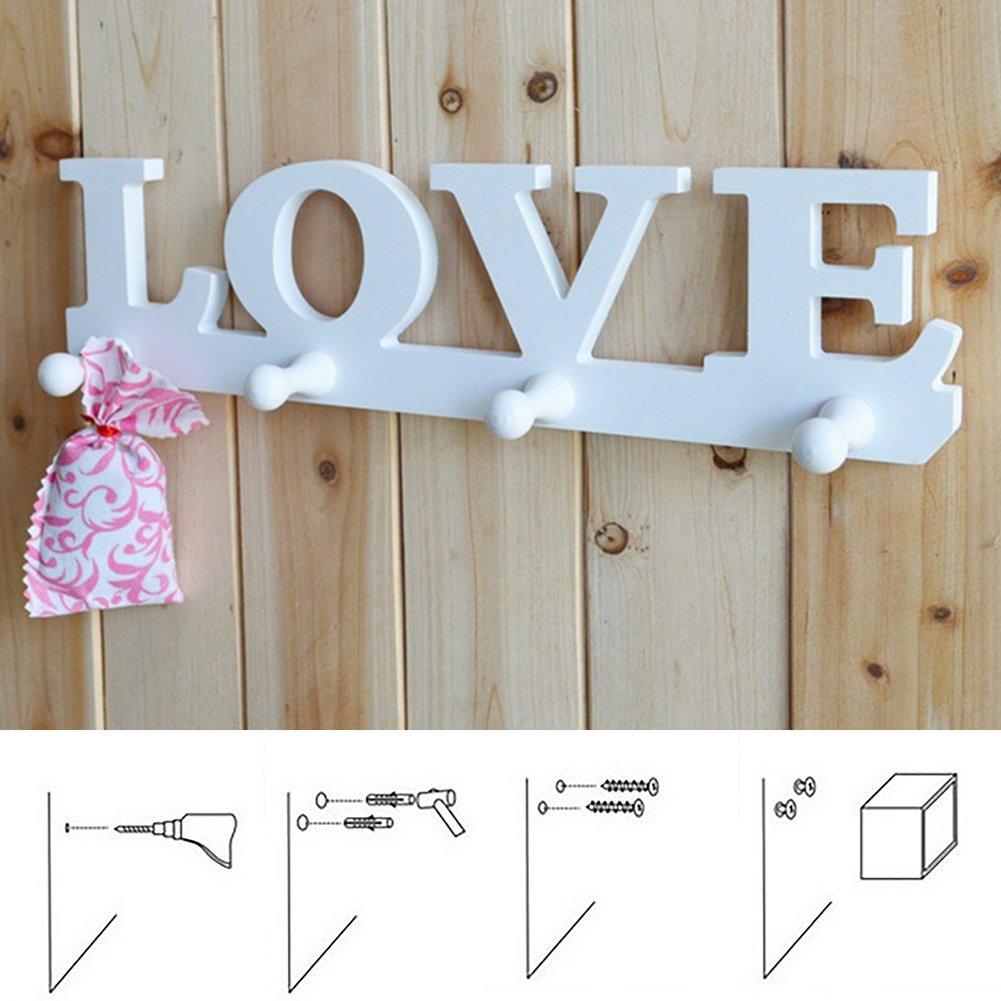 Perchero blanco con diseño de amor para colgar en la pared ...