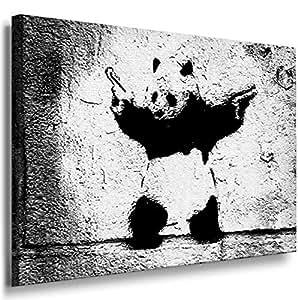 Art On Canvas - Frame 100x70x2 Cm Banksy Panda 1012