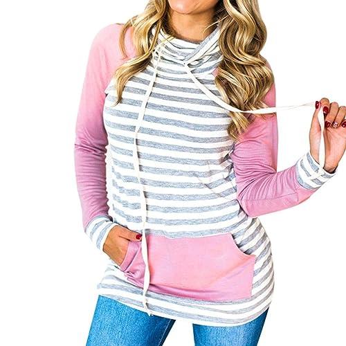 FEITONG Mujer Cuello Alto Camisa de Rayas Camiseta de Manga Larga Blusa Tops Pullovers