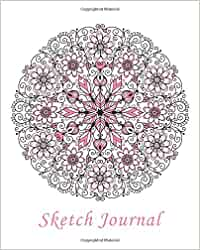 sketch journal flower mandala pink 8x10 pages are lightly lined with extra wide right margins for sketching drawing and writing