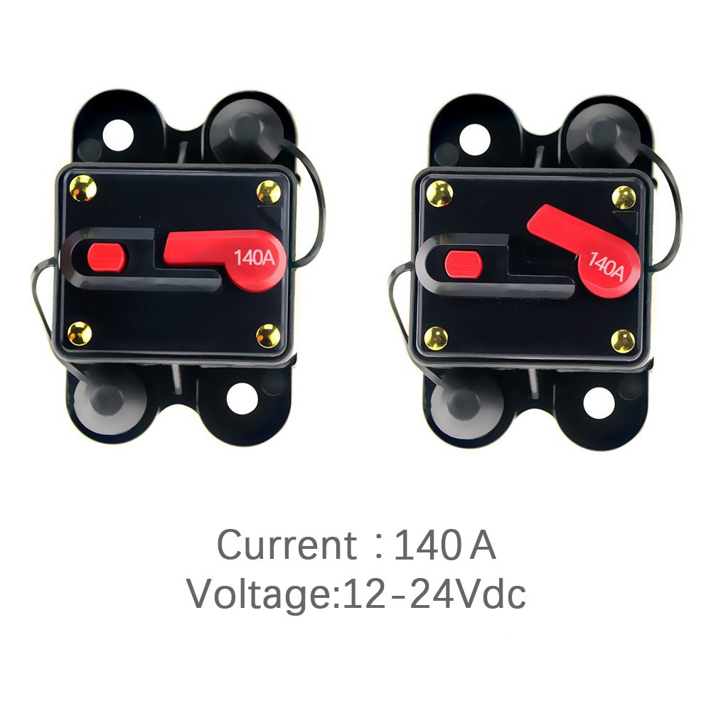 12V-24V DC Circuit Breaker Trolling Motor Auto Car Marine Boat Bike Stereo Audio Inline Fuse Inverter Waterproof with Manual Reset 140A 140Amp by Soyond (Image #4)