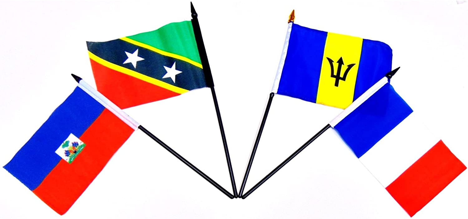 """ST.VINCENT /& THE GRENADINES COUNTRY 4 X 6 MINI STICK FLAG WITH 10/"""" PLASTIC POLE"""