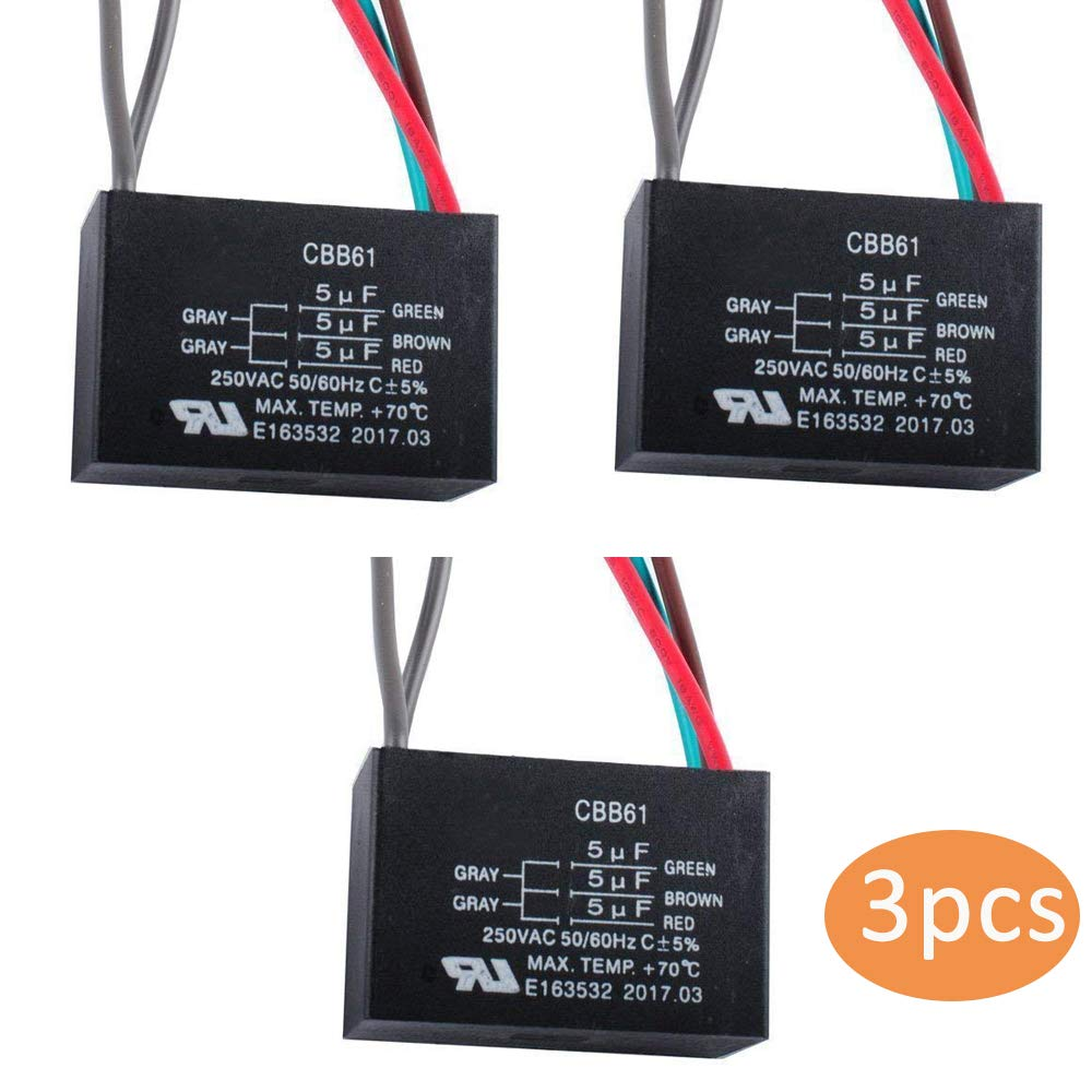 CBB61 5 Wire Ceiling Fan Capacitor for NEW TECH 5+5+5uf 50//60Hz 250VAC (3 pcs) Swess