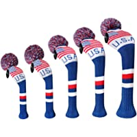 Scott Edward Dark Color Yarn Knitted Golf Club Head Covers Set of 5, Fit for Driver Wood(460cc) 1, Fairway Wood2,and…