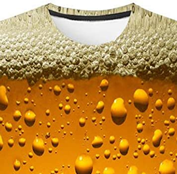 7dac69b82bba Amazon.com  Men s 3D Beer Bubble Printed Short Sleeve Crew Neck ...