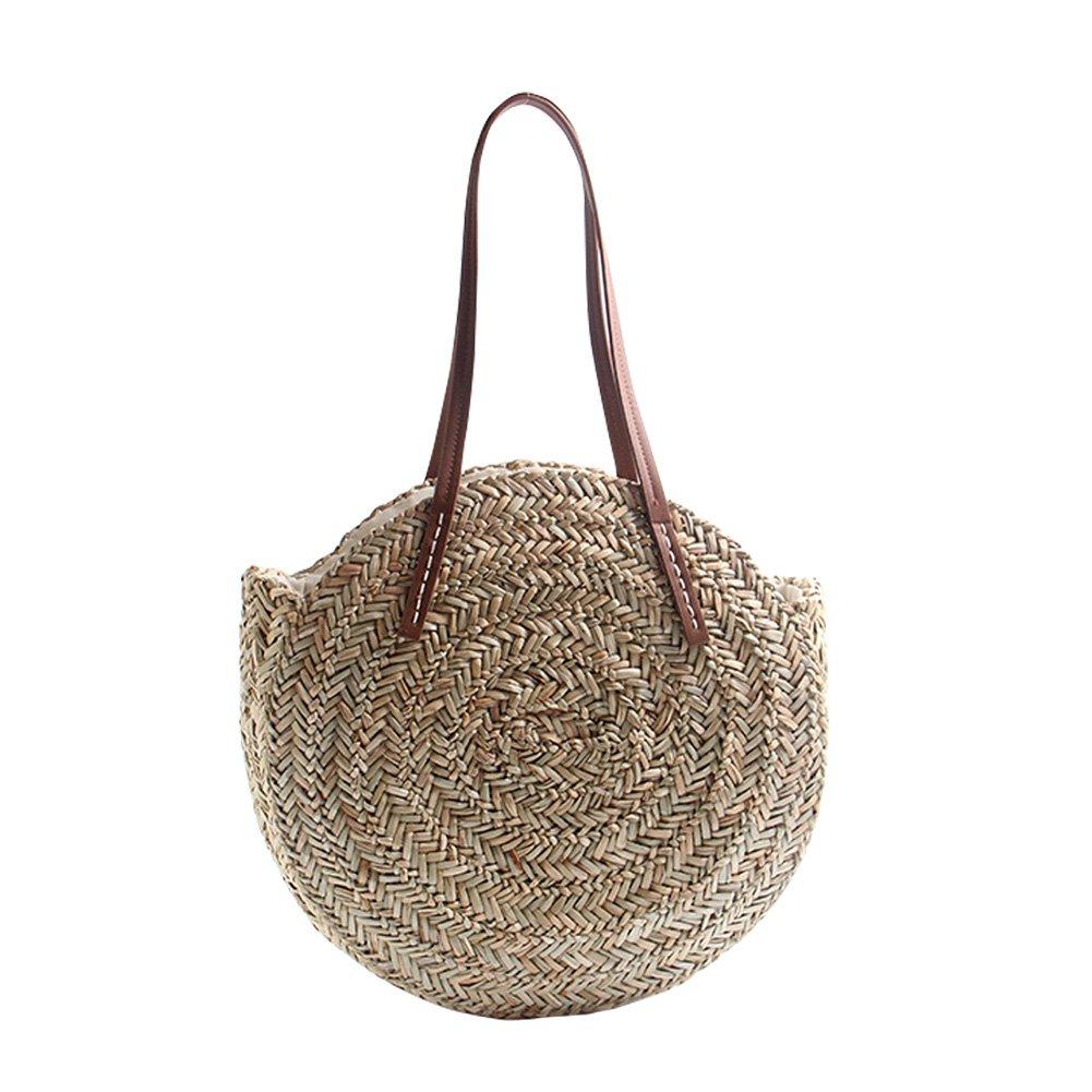 CampHiking/® Bolsos redondos de la paja para las mujeres Bolso de la playa del verano Bolso crossbody de la honda del recorrido de doble prop/ósito