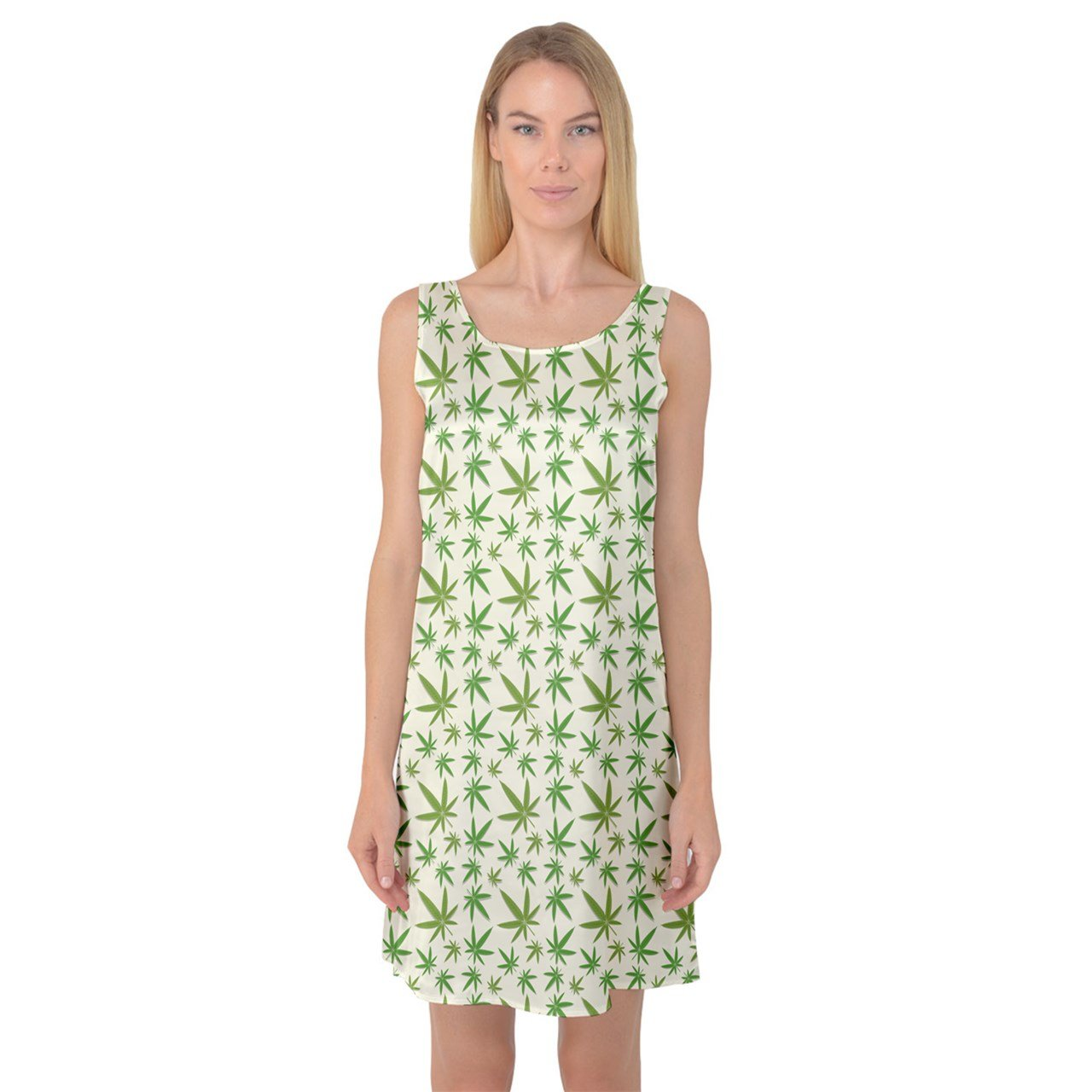 CowCow Womens Green Cannabis Leaves Pattern Sleeveless Satin Nightdress
