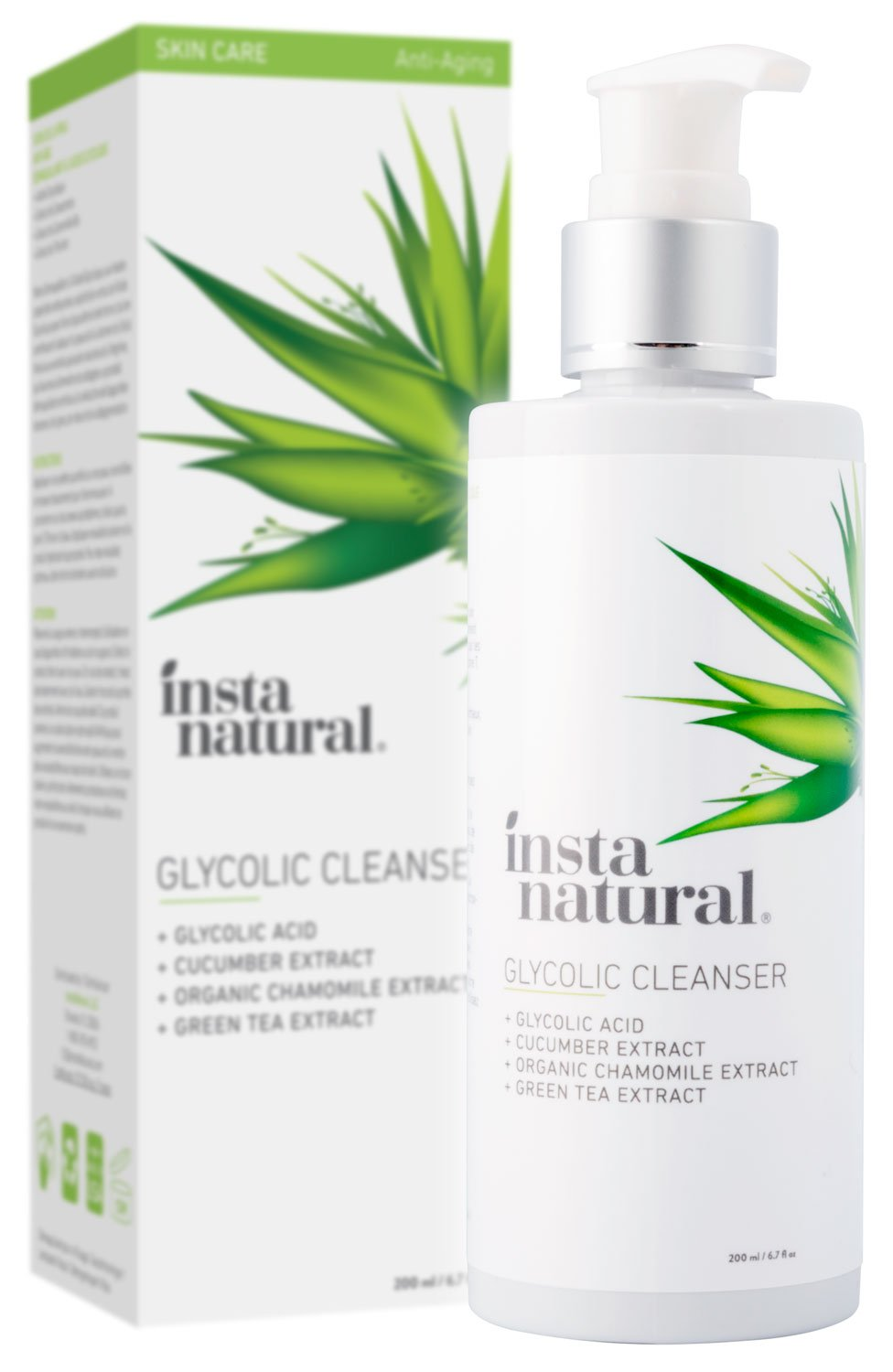 Glycolic Facial Cleanser - Anti Wrinkle, Fine Line, Age Spot & Hyperpigmentation Face Wash - Clear Dead Skin & Pores - With Glycolic Acid, Organic Extract Blend & Arginine - InstaNatural - 6.7 oz