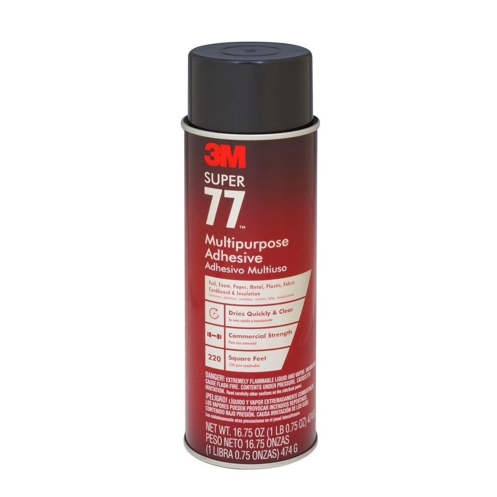 Miller Supply Inc 3M Super 77 Multipurpose Spray Adhesive - 24 fl.oz./ 16.75 net Weight oz. (1 Can) - AB-530-4-77 (1 Can)