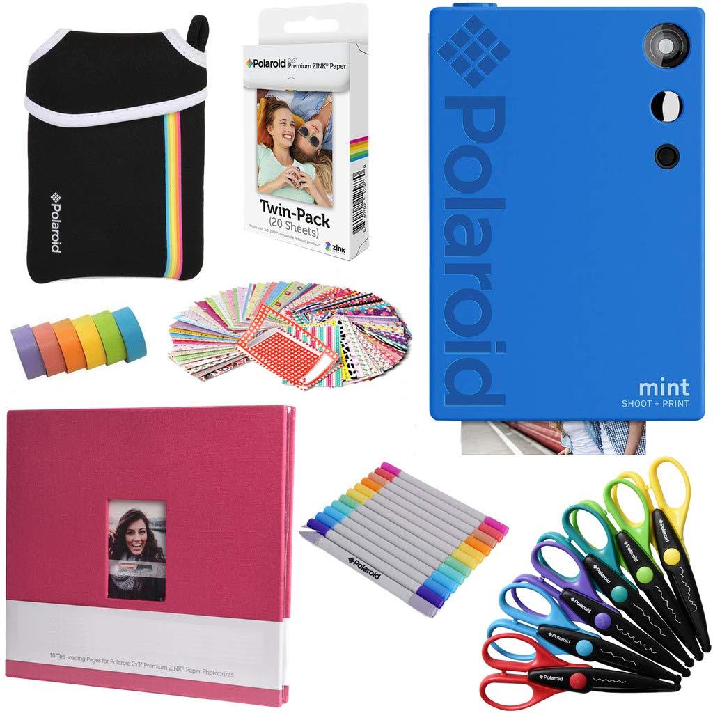 Polaroid Mint Instant Digital Camera (Blue) Art Bundle + Paper (20 Sheets) + 8x8 Cloth Scrapbook + Pouch + 12 Twin Tip Markers + 100 Border Stickers + 6 Decorative Scissors + Washi Tape