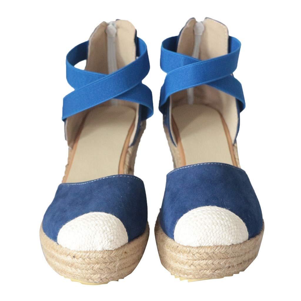 Women's Sandals Bummyo Summer Sandals Retro Fashion Womens Espadrilles Wedges Platform Shoes Casual Beach Roman Sandals(5.5M US, Blue)