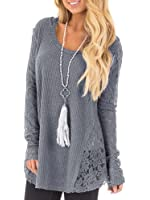 Inorin Womens Casual Long Sleeve Tunic Tops Cute Lace Long Shirt Pullover Blouse