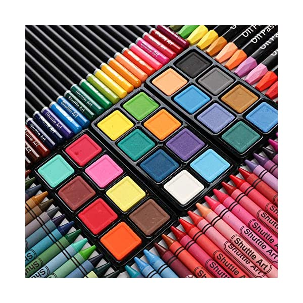 186-Piece-Deluxe-Art-Set-Shuttle-Art-Art-Supplies-in-Wooden-Case-Painting-Drawing-Art-Kit-with-Acrylic-Paint-Pencils-Oil-Pastels-Watercolor-Cakes-Coloring-Book-Watercolor-Sketch-Pad-for-Kids-Adults