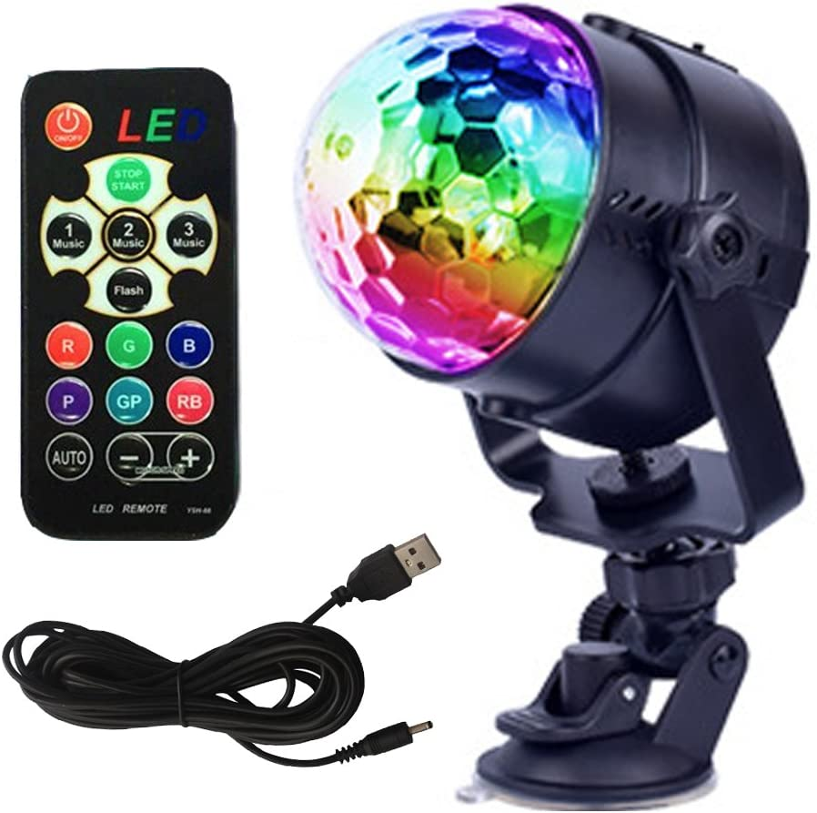 GCBTECH Mini Led Party light Sound Activated Crystal Magic Rotating Ball Disco DJ Stage Lights Effect for Festival Xmas Party Wedding Show Club Pub Bar and outdoor 5W RGB with rechargeable battery