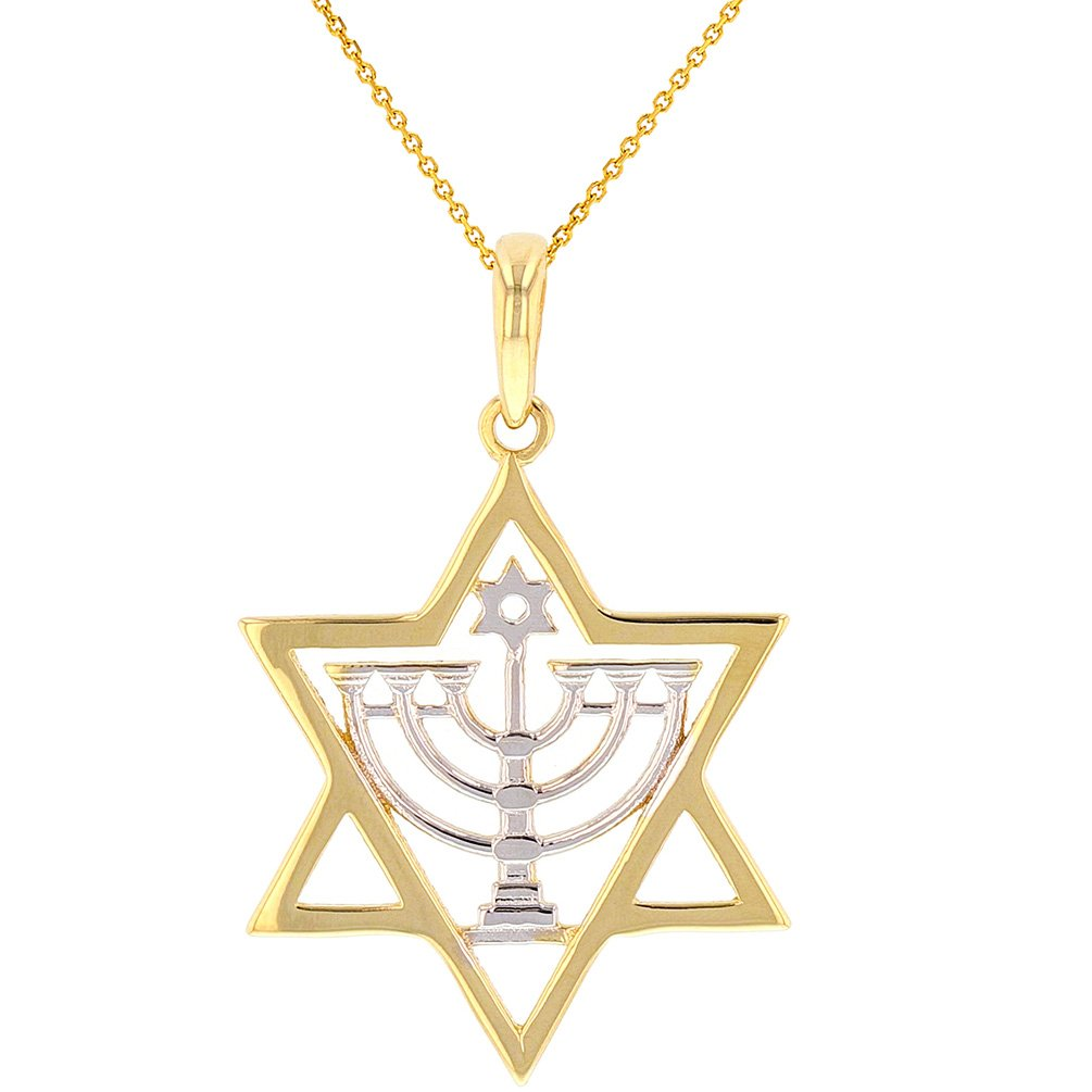 Solid 14K Gold Jewish Star of David with Menorah Pendant Necklace, 20''