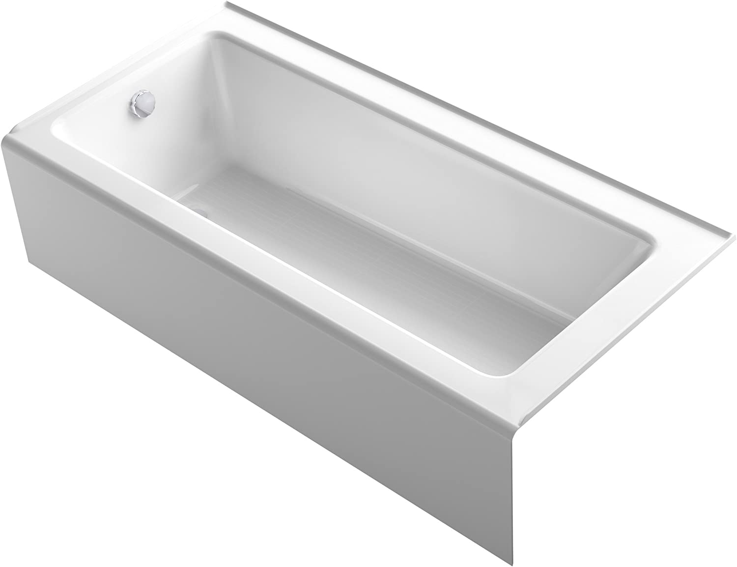 """KOHLER 847-0 Bellwether 66"""" x 32"""" Alcove Bath with Integral Apron, Tile Flange and Left-Hand Drain, White"""
